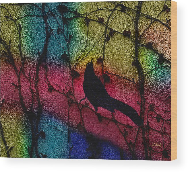 Contemporary Abstract Vines Bird Nature Gordon Beck Art Wood Print featuring the painting Other Worlds by Gordon Beck