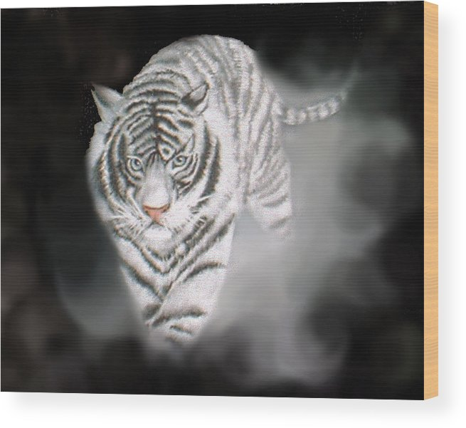 Tiger Wood Print featuring the painting Out Of The Night by Darlene Green