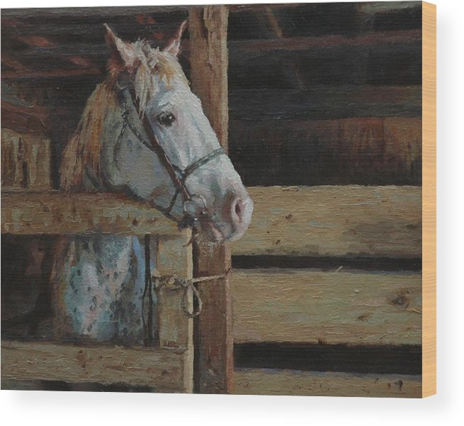 Horse Wood Print featuring the painting Outdoor Girl by Jim Clements