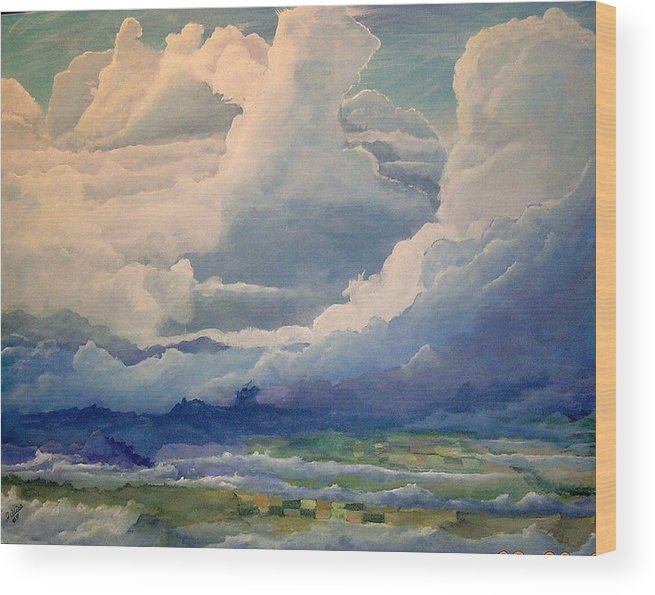 Clouds Wood Print featuring the painting Over Farm Land by John Wise