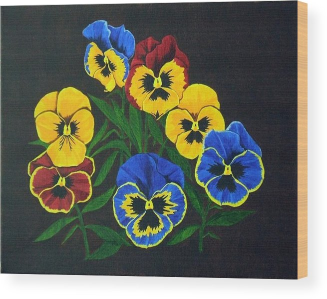 Pansies Wood Print featuring the painting Pansy Lions by Brandy House