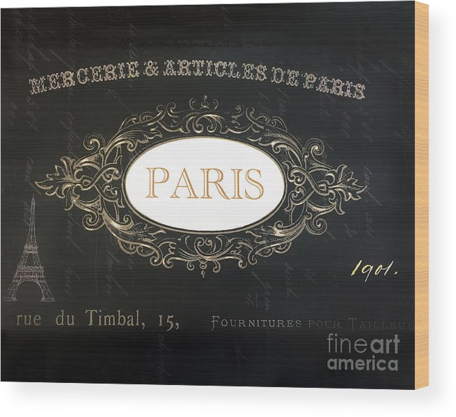 Paris Wood Print featuring the photograph Paris Black And White Gold Typography Home Decor - French Script Paris Wall Art Home Decor by Kathy Fornal
