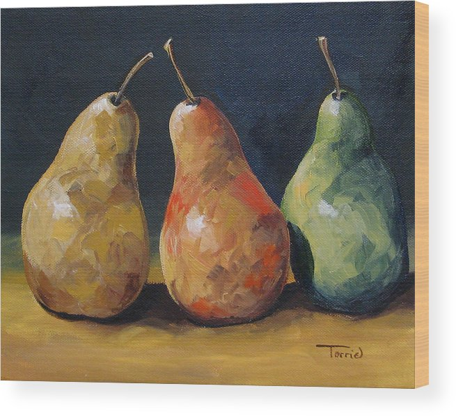 Pear Wood Print featuring the painting Pear Trio by Torrie Smiley