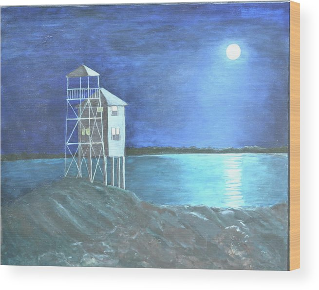 Night Scene Wood Print featuring the painting Pilot House by Sheryl Sutherland