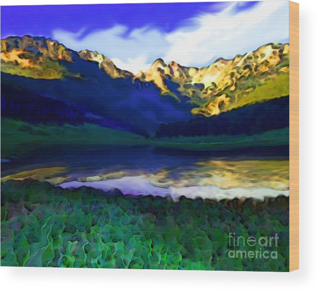 Sunset Wood Print featuring the painting Piney Mountain by Mike Massengale