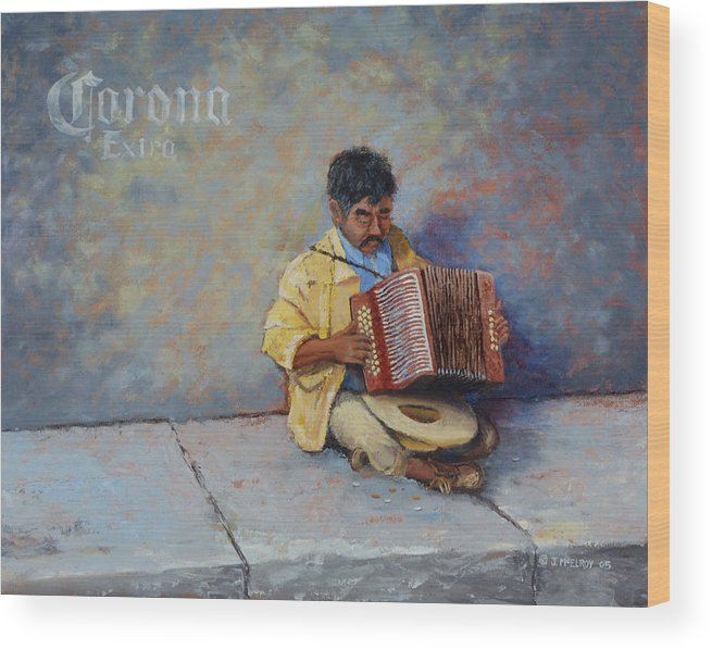 Mexico Wood Print featuring the painting Playing For Pesos by Jerry McElroy