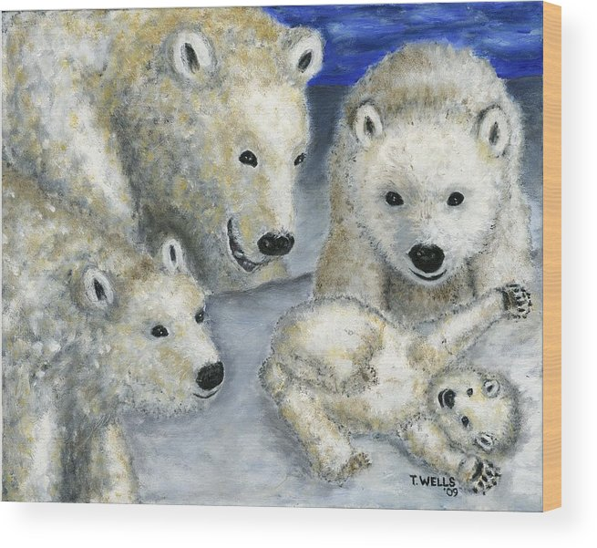 Polar Bears Wood Print featuring the painting Polar Bears At Play In The Arctic by Tanna Lee M Wells
