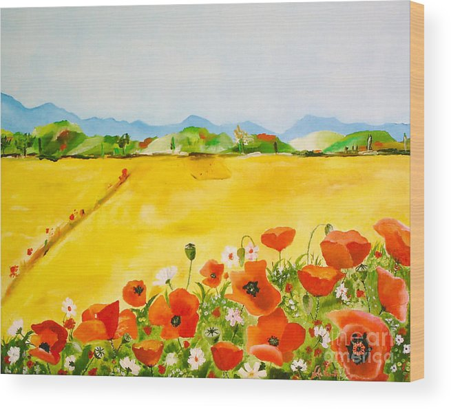 Poppies Wood Print featuring the painting Poppies In Alentejo by Nela Vicente