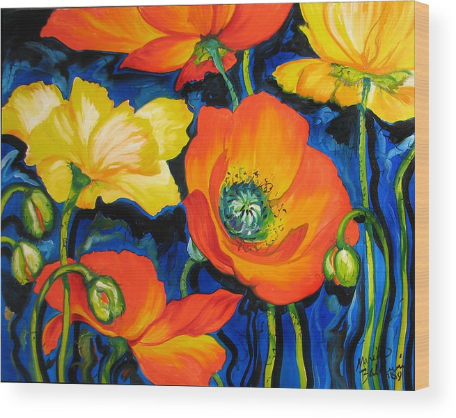 Poppy Wood Print featuring the painting Poppies by Marcia Baldwin