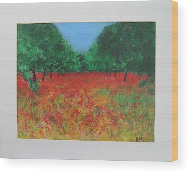 Poppy Wood Print featuring the painting Poppy Field In Ibiza by Lizzy Forrester