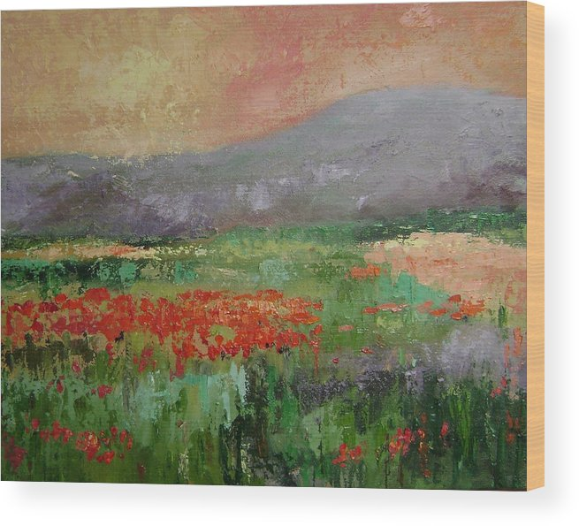 Poppies Wood Print featuring the painting Poppyfield by Ginger Concepcion