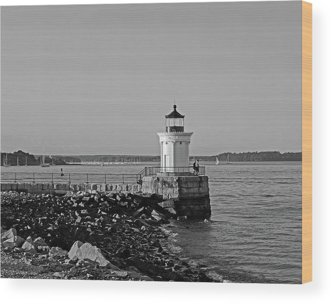 Portland Wood Print featuring the photograph Portland Maine Bug Light Park Black And Whtie by Toby McGuire