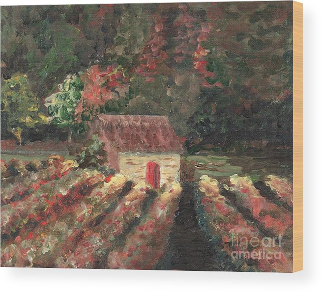 Landscape Wood Print featuring the painting Provence Vineyard by Nadine Rippelmeyer