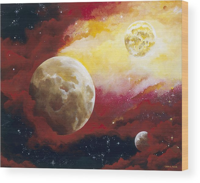 Space Wood Print featuring the painting Psalm by Laura Swink