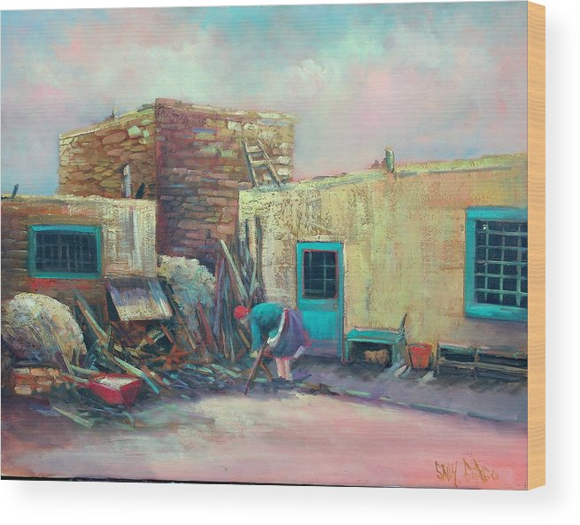 Baker Wood Print featuring the painting Pueblo Baker by Sally Seago