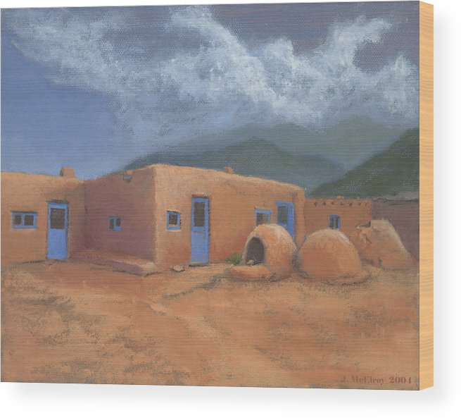 Taos Wood Print featuring the painting Puertas Azul by Jerry McElroy
