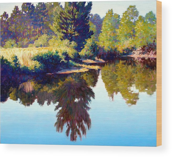 River Wood Print featuring the painting Quiet Pond by Kevin Lawrence Leveque