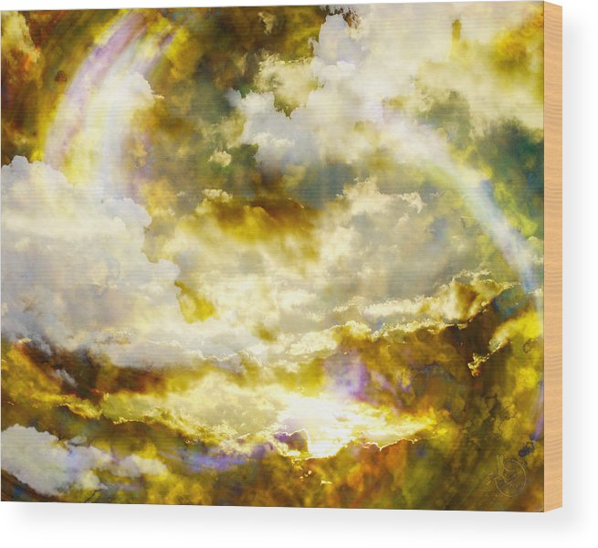 Clouds Wood Print featuring the digital art Realm Of Angels by Gae Helton