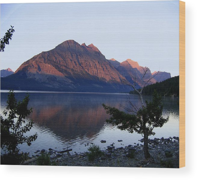 Reflections St. Mary Lake Wood Print featuring the photograph Red Bluffs by Diane Wallace