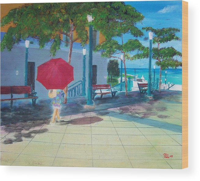 Landscapes Wood Print featuring the painting Red Umbrella In San Juan by Tony Rodriguez