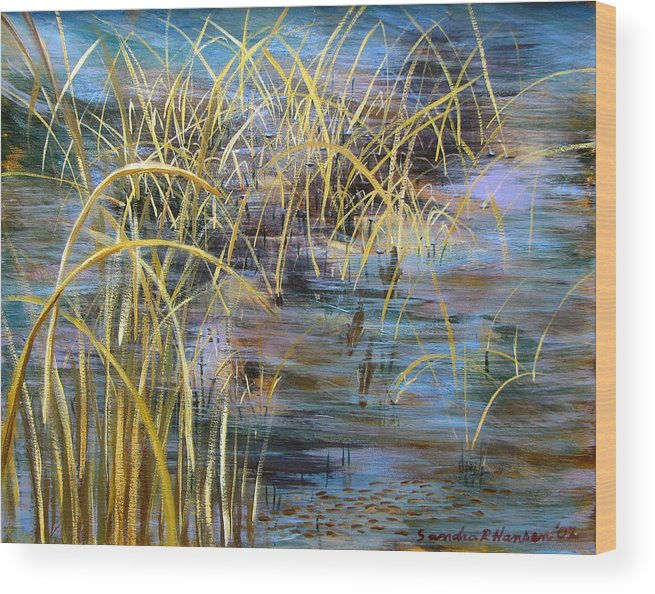 Reeds Wood Print featuring the painting Reeds In The Water by Art Nomad Sandra Hansen