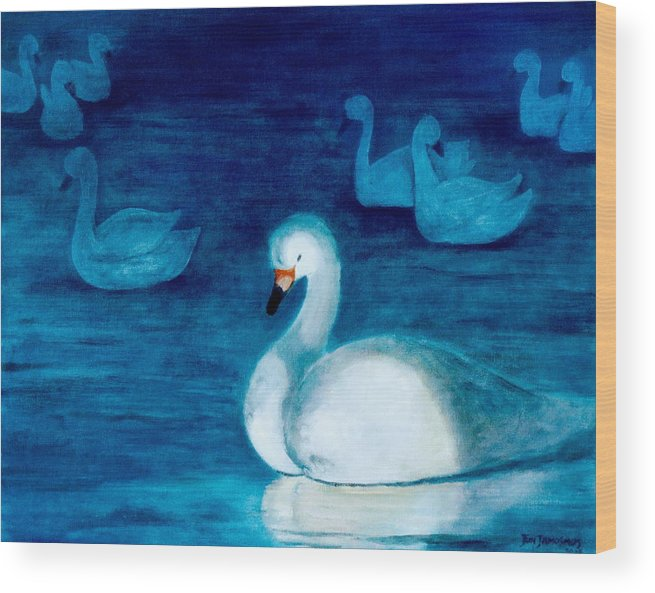 Duck Wood Print featuring the painting Reflections 1 by Jun Jamosmos