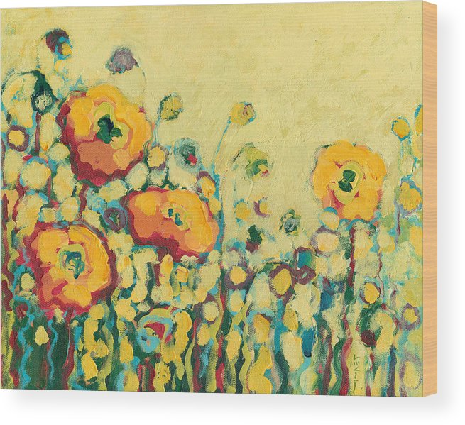 Floral Wood Print featuring the painting Reminiscing On A Summer Day by Jennifer Lommers