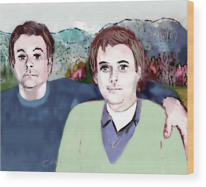 Art.paint Wood Print featuring the painting Retrato Mis Hijos Andres - Alejandro by Carlos Camus