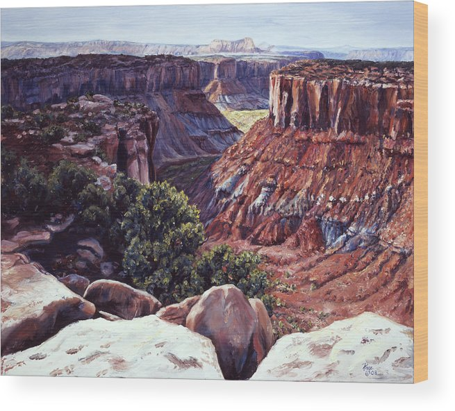 Landscape Wood Print featuring the painting Rimrocked No Way Down by Page Holland