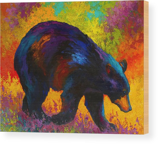 Bear Wood Print featuring the painting Roaming - Black Bear by Marion Rose