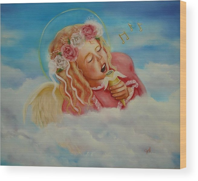 Angel Wood Print featuring the painting Rock And Roll Angel by Joni McPherson