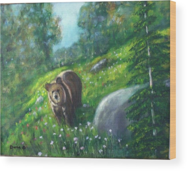 Wildlife Wood Print featuring the painting Rocky Mountain Spring by Darla Joy Johnson