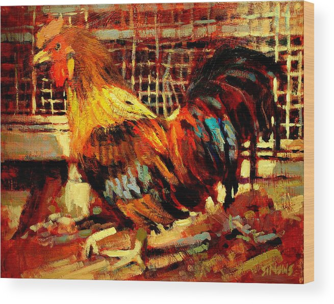 Rooster Wood Print featuring the painting Rooster by Brian Simons