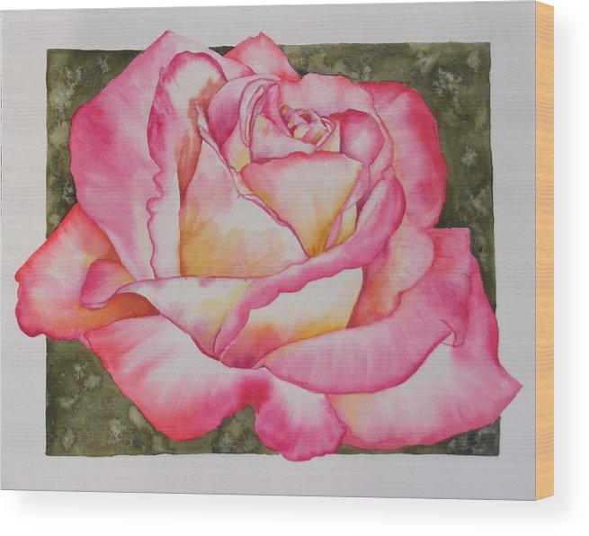 Red Wood Print featuring the painting Rose 4 by Diane Ziemski