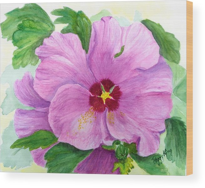 Watercolour Wood Print featuring the painting Rose Of Sharon by Peggy King