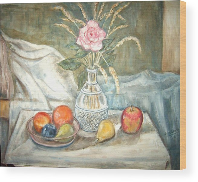 Still Life Fruit Rose Bottle Flowers Wood Print featuring the painting Rose With Fruit by Joseph Sandora Jr