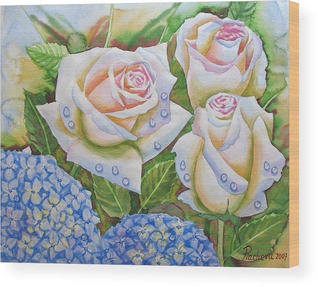 Flowers Wood Print featuring the painting Roses.2007 by Natalia Piacheva