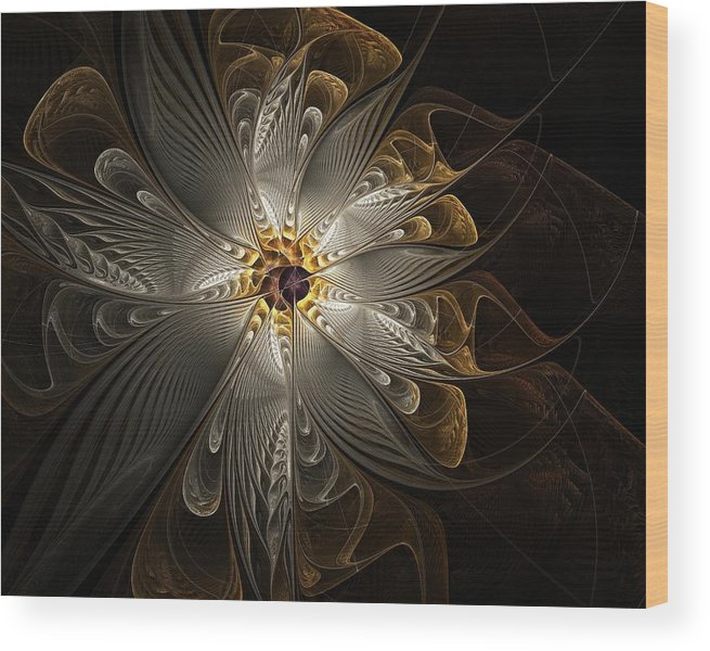Digital Art Wood Print featuring the digital art Rosette In Gold And Silver by Amanda Moore