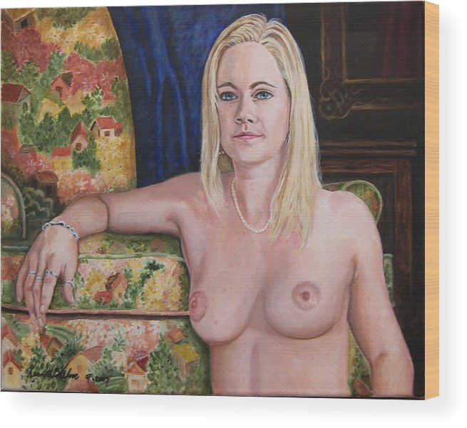 Portrait Wood Print featuring the painting Roxy by Kenneth Kelsoe