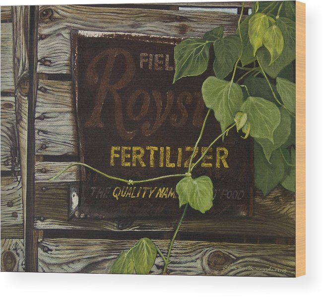 Landscape Wood Print featuring the painting Royston Fertilizer Sign by Peter Muzyka