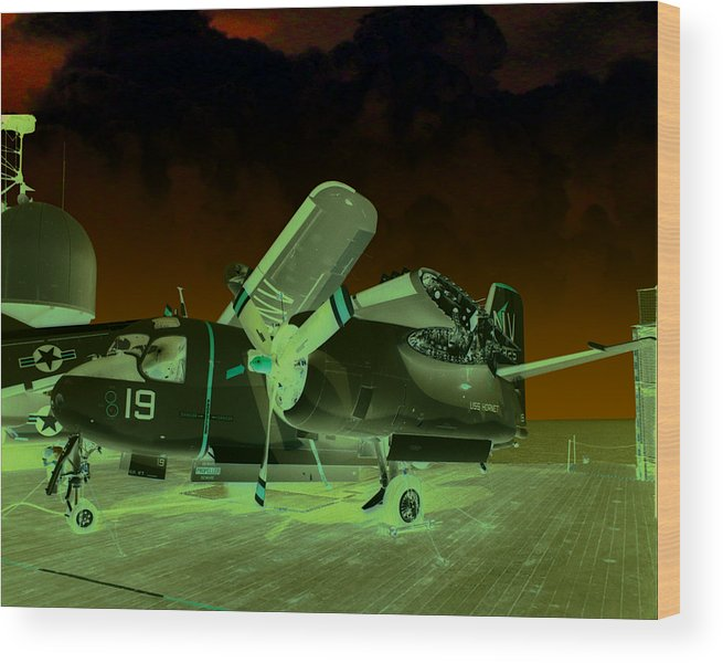 Airplane Wood Print featuring the digital art S2 On Deck by Mike Ray