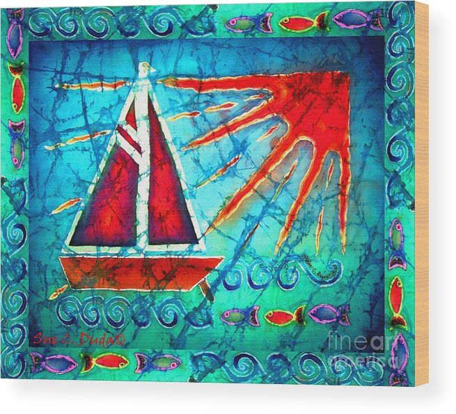 Sailboat Wood Print featuring the painting Sailboat In The Sun by Sue Duda