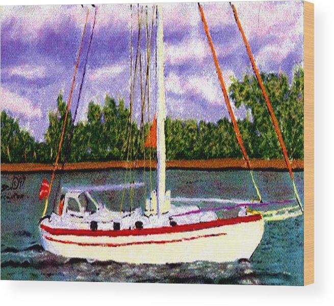 Digital Art Wood Print featuring the digital art Sailboat by Stan Hamilton