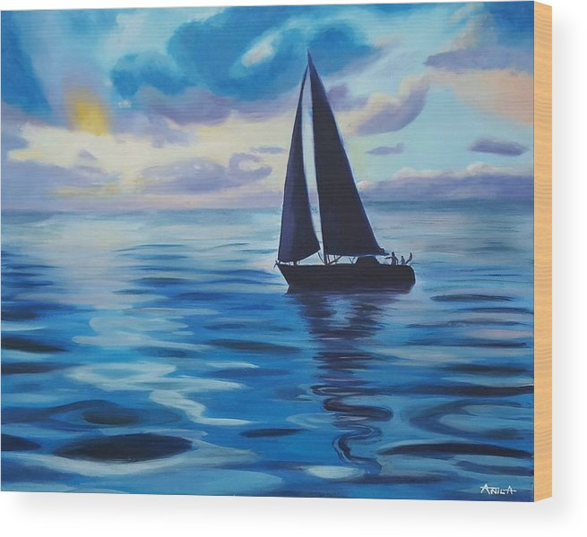 Sail Wood Print featuring the painting Sailing In Cerulean Blue by Anila Ayilliath