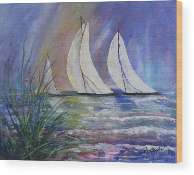 Sailing Wood Print featuring the painting Sailing The Windy Sea by Barbara Harper