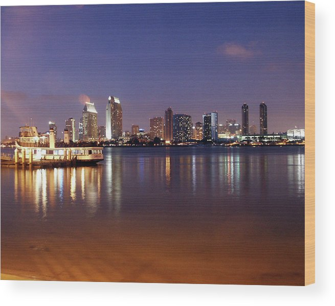 San Diego Wood Print featuring the photograph San Diego Skyline by Shannon Pearson