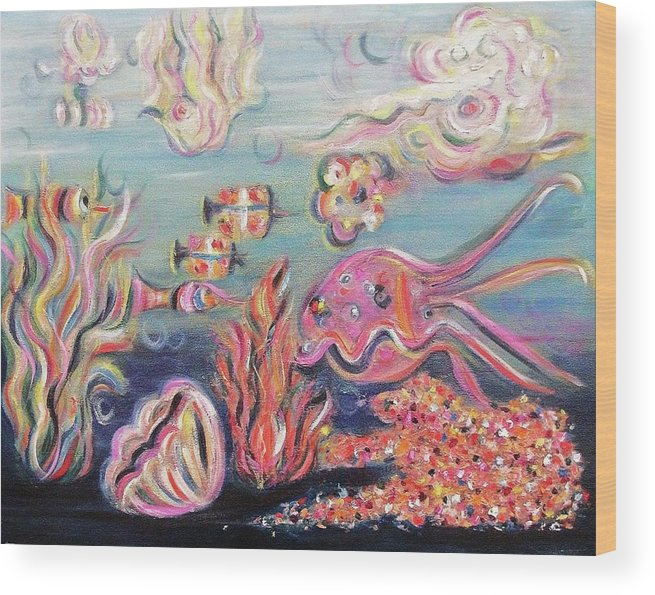 Ocean Wood Print featuring the painting Sea Creatures by Suzanne Marie Leclair