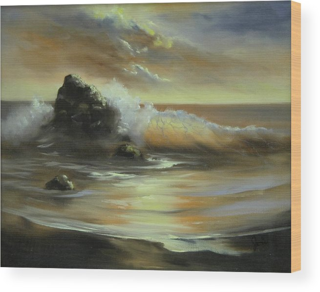 Seascape Wood Print featuring the painting Sea Of Gold by Joni McPherson