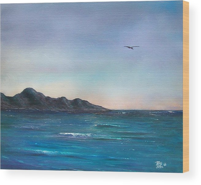 Seascapes. Seagull Wood Print featuring the painting Seagull Seascape by Tony Rodriguez