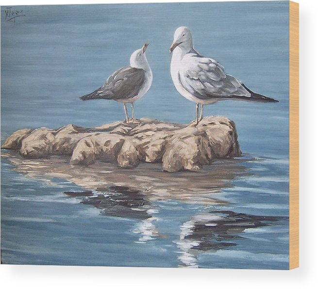 Seagulls Sea Seascape Water Bird Wood Print featuring the painting Seagulls In The Sea by Natalia Tejera